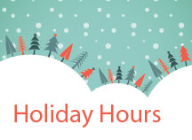 Holiday Hours graphic with festive Christmas trees