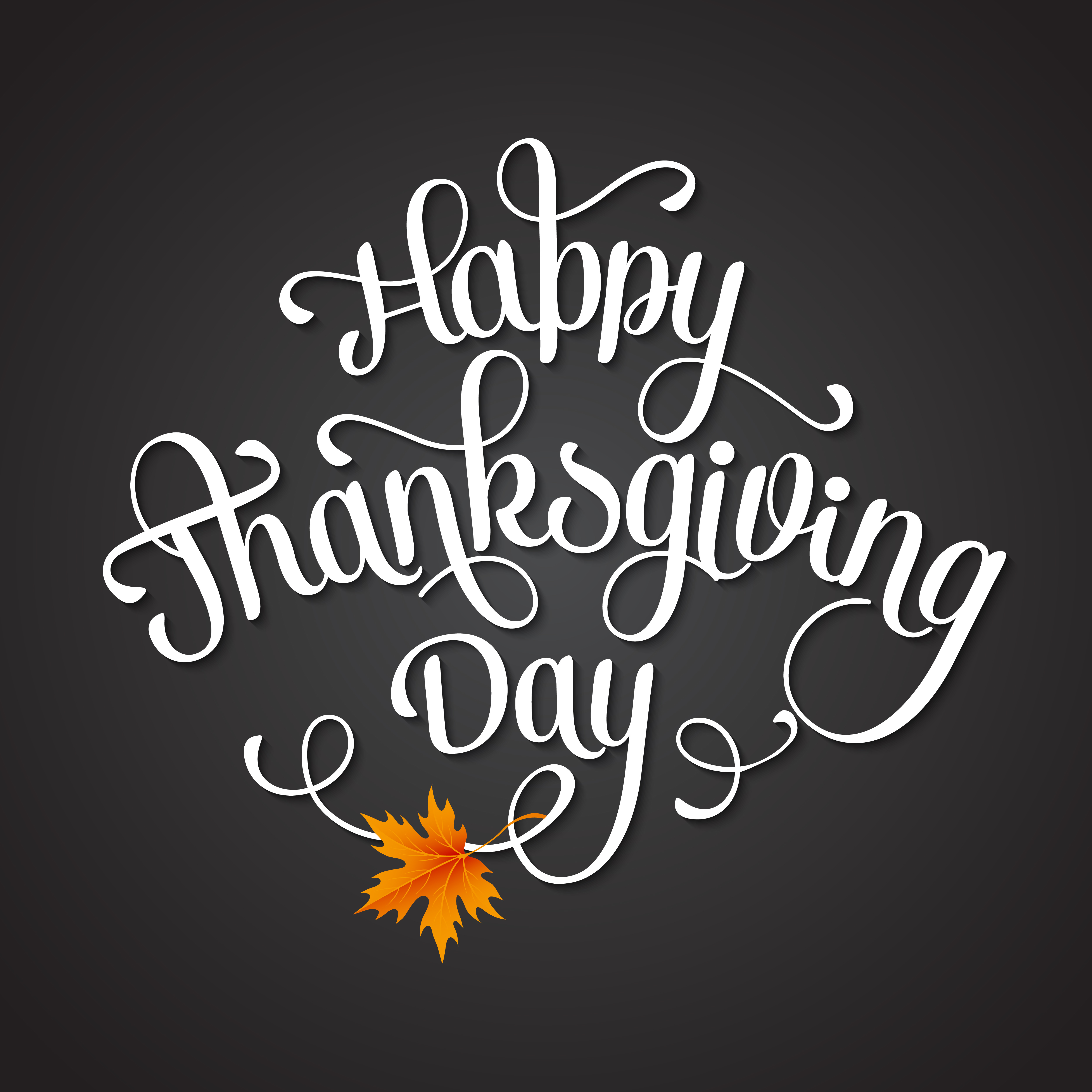 black canvas with white font that says Happy Thanksgiving Day in white script