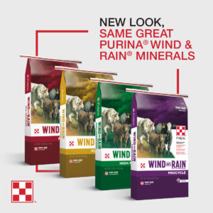 New bags of Purina Wind & Rain Cattle Minerals