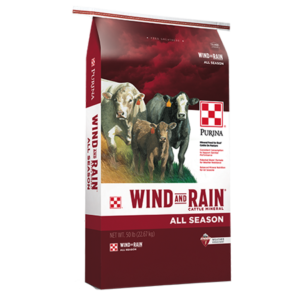 a bag of Purina Wind and Rain All Season Mineral